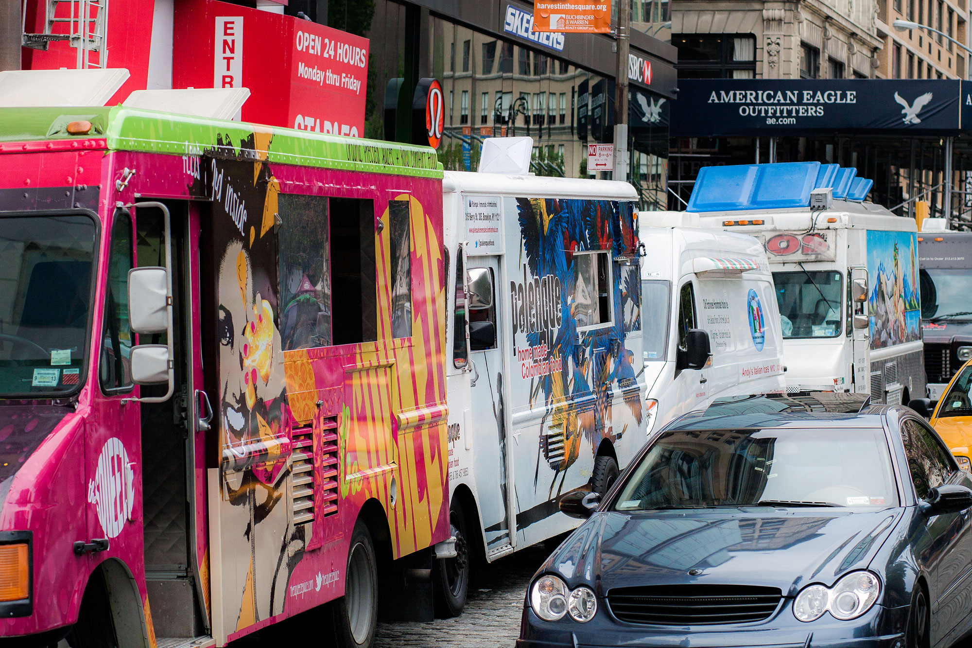 food trucks parked at Union Square