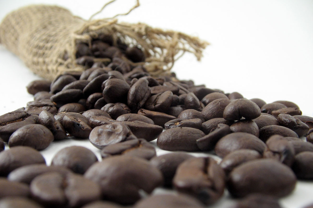coffee beans falling out of sack
