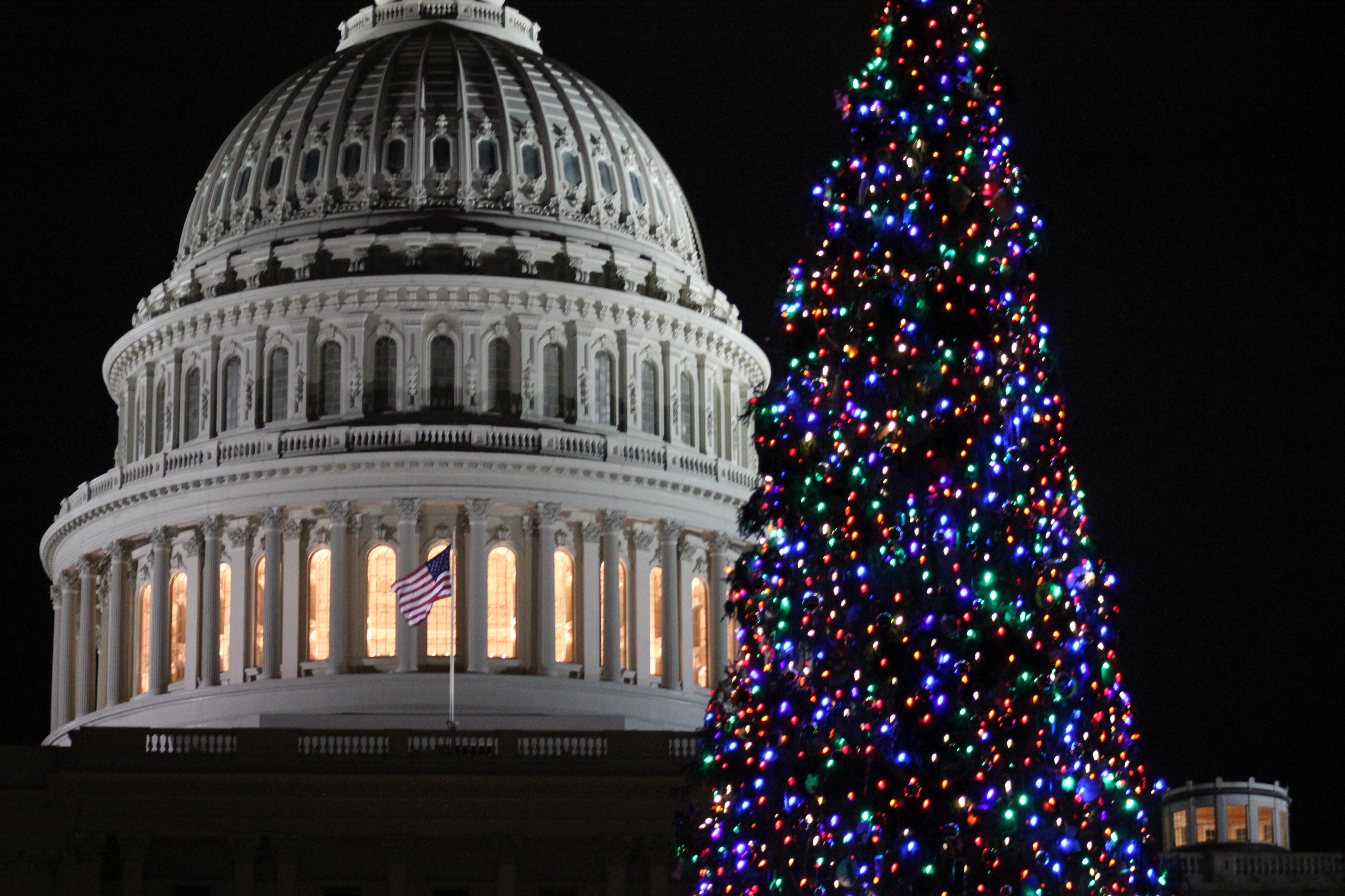 Holiday decorations shine in front of the US Capitol