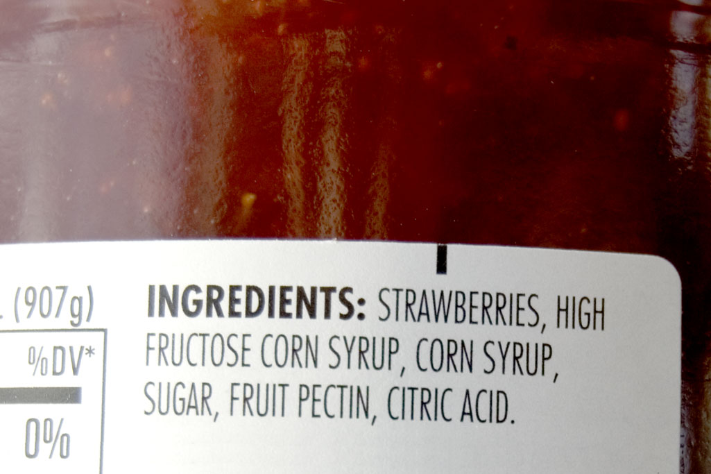 Strawberry jam lists sugar and high fructose corn syrup as its top ingredients.
