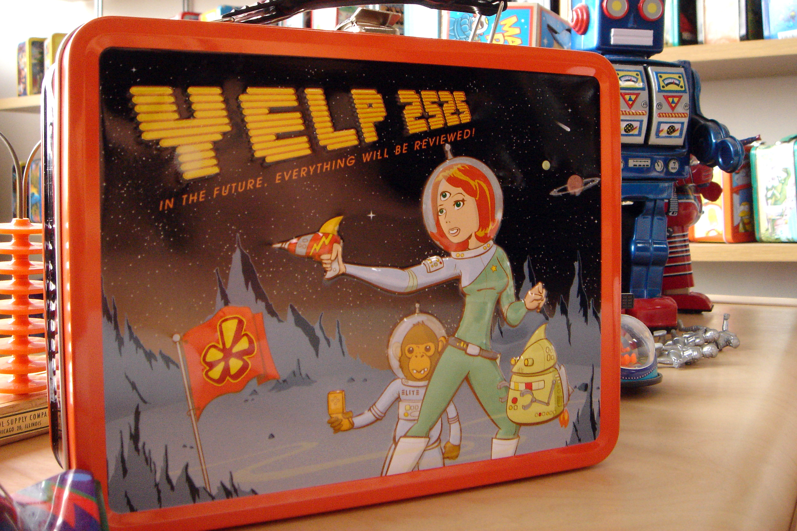 A Yelp lunchbox declares that 'in the future, everything will be reviewed.'