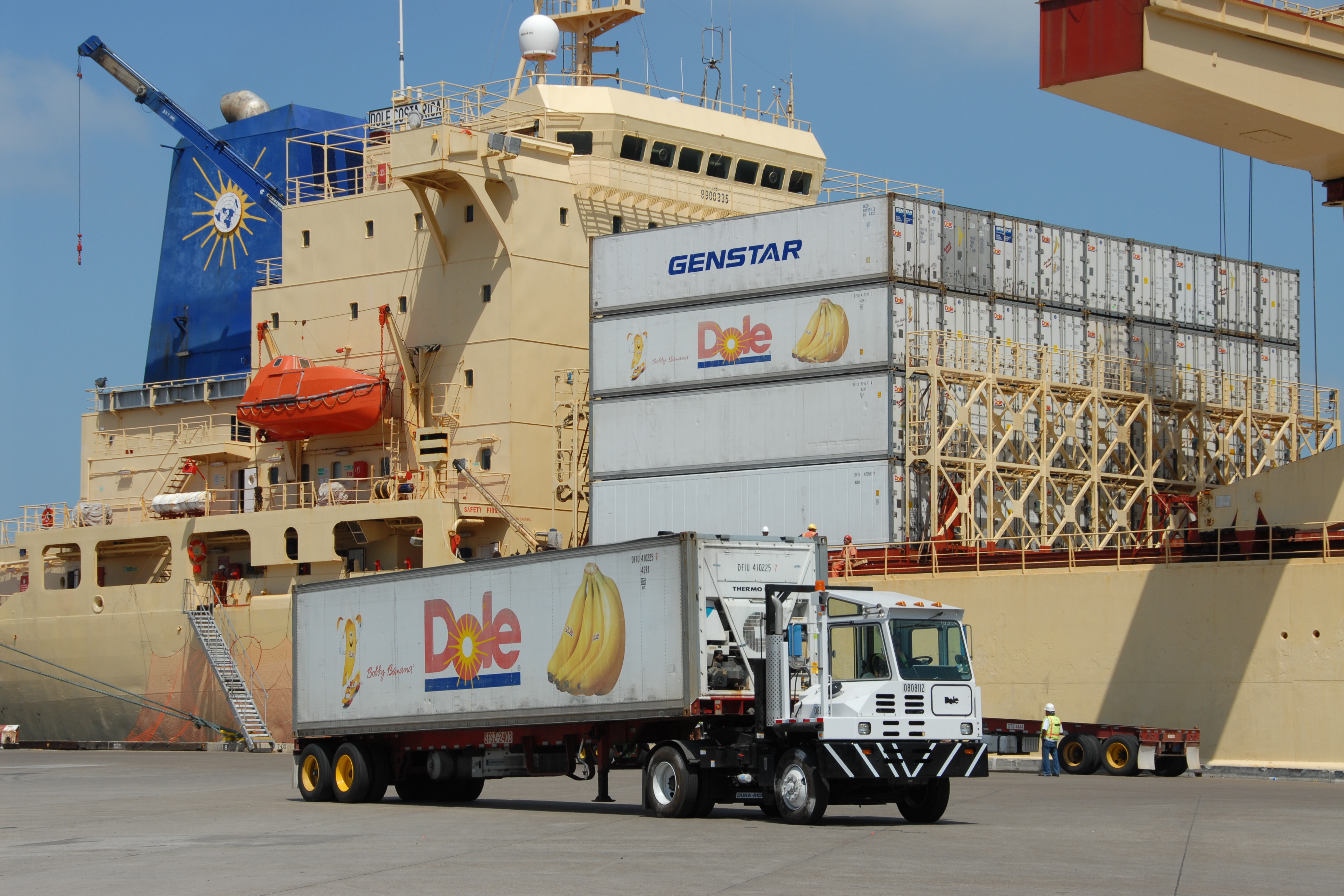 A truck fitted with a container of Dole bananas from a cargo ship