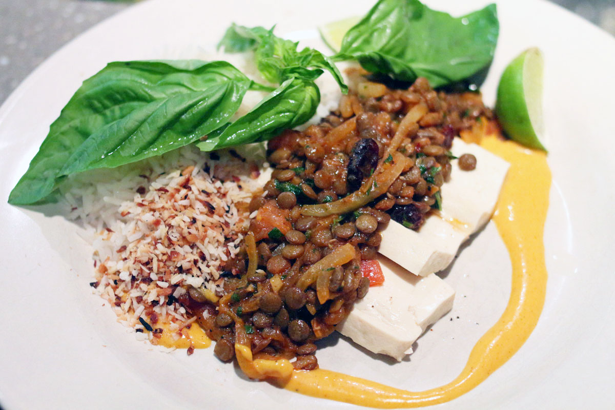 curried lentils over tofu