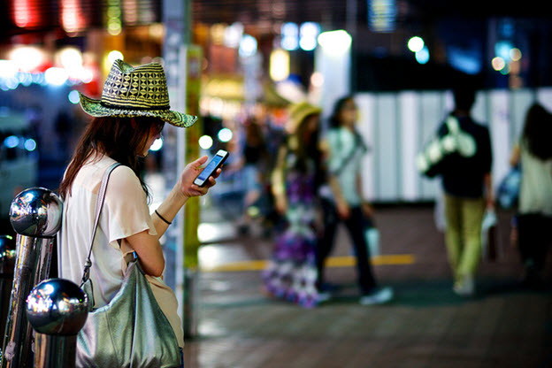woman on smartphone