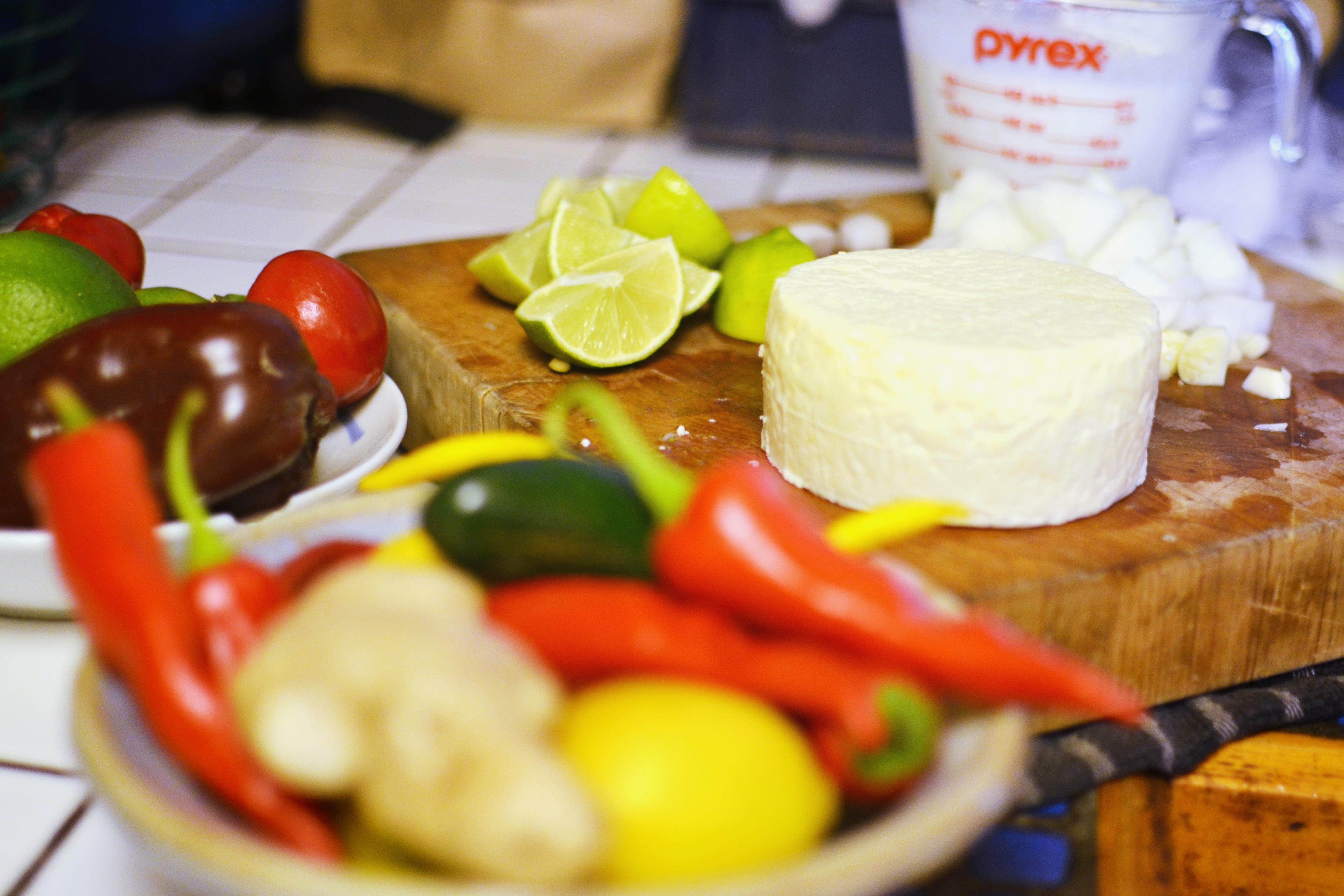 Fresh ingredients displayed on a cutting board
