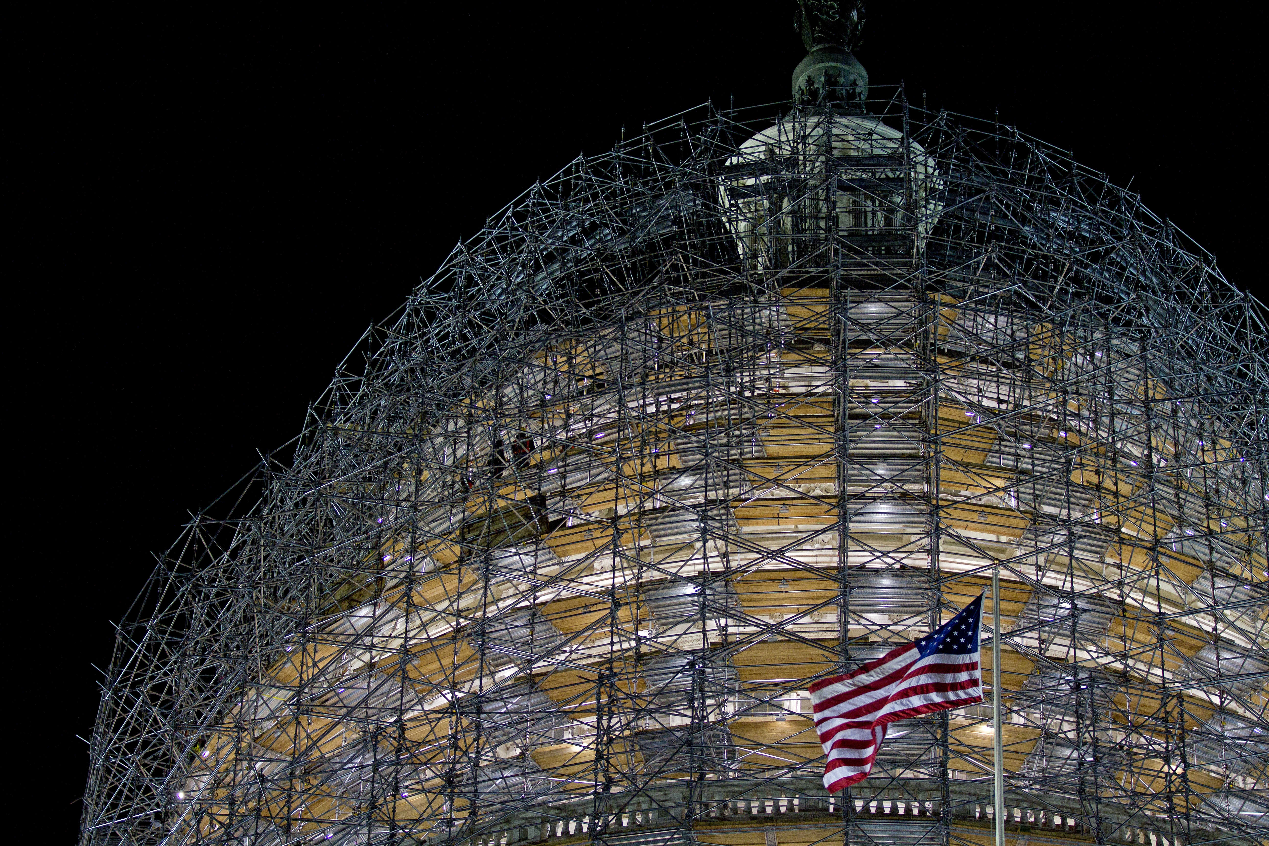 The U.S. Capitol building surrounded by scaffolding