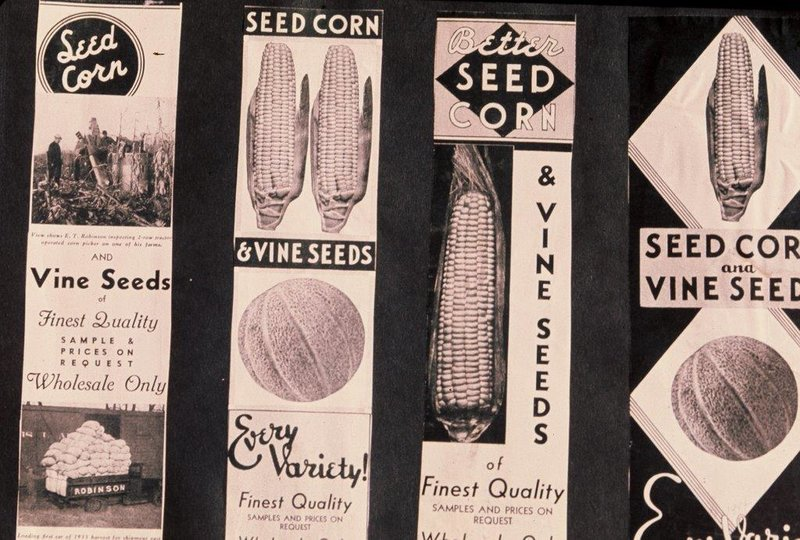 Seed labels from the J.C. Robinson Seed Company