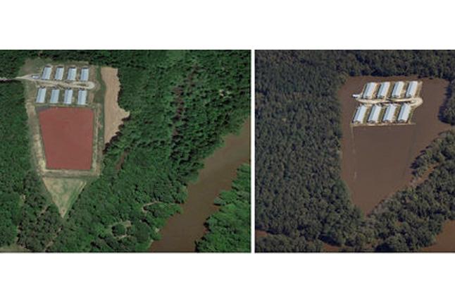aerial views of a hog farm in North Carolina