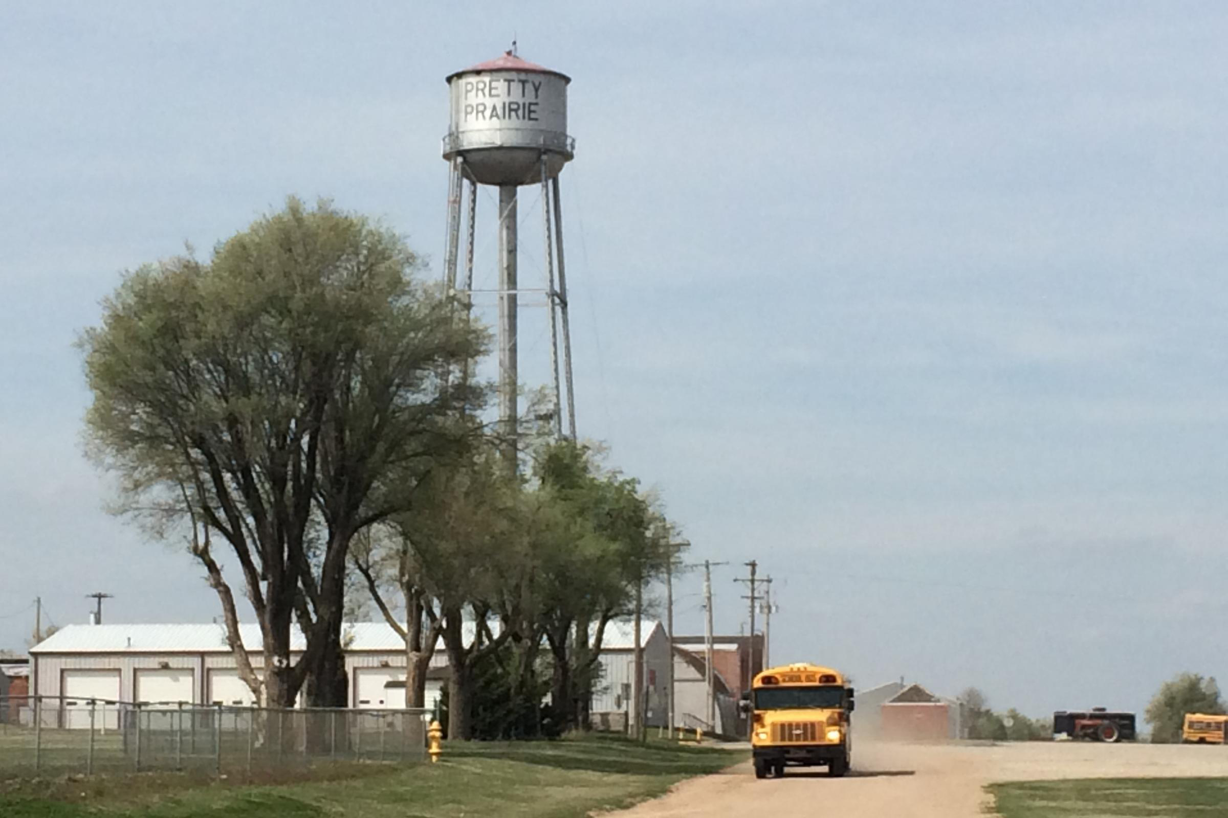 water tower and school bus