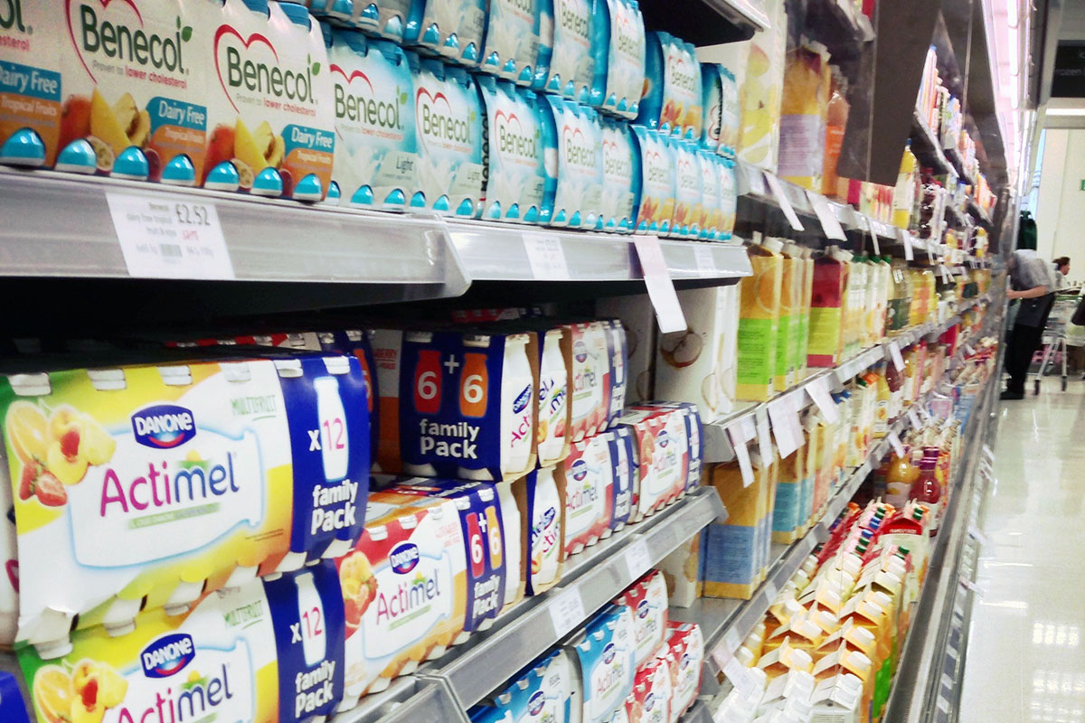Yogurt at supermarket