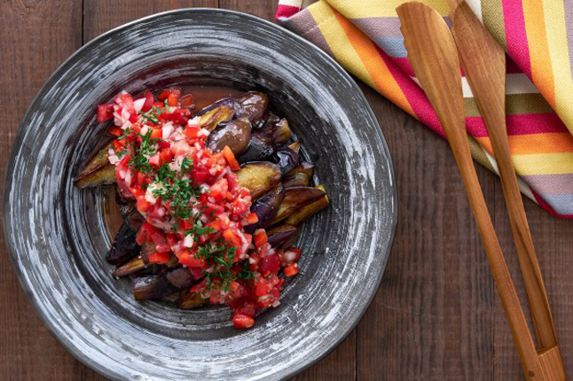 eggplant with pepper relish