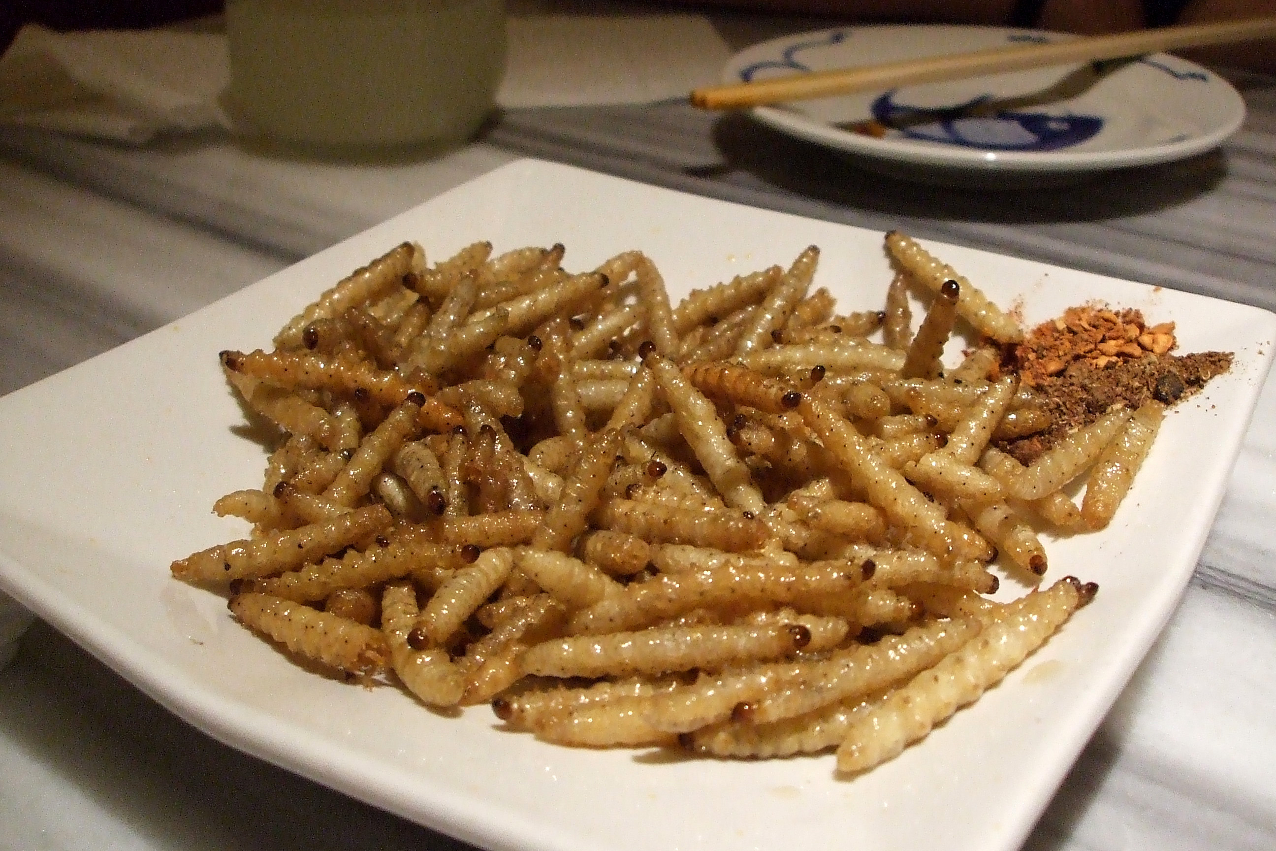 Mealworms served in Yunnan, China