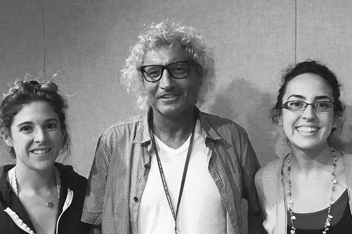 Leigh Bush and Maddie Chera interviewed Simone Cinotto in the WFIU studios last fall (Kayte Young/WFIU)
