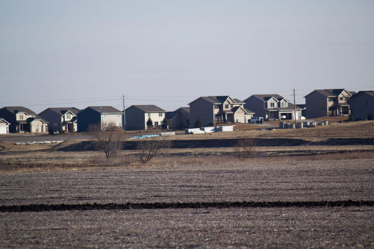 Two towns in central Iowa, Waukee and Adel, have grown closer due to county land being annexed, especially along the state highway that connects them. (AMY MAYER / HARVEST PUBLIC MEDIA)