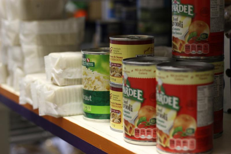 The Rising Up food pantry in Fort Morgan, Colorado, is one of only two locations in the area, aside from a mobile food pantry that comes to town once a month. (ESTHER HONIG / HARVEST PUBLIC MEDIA)