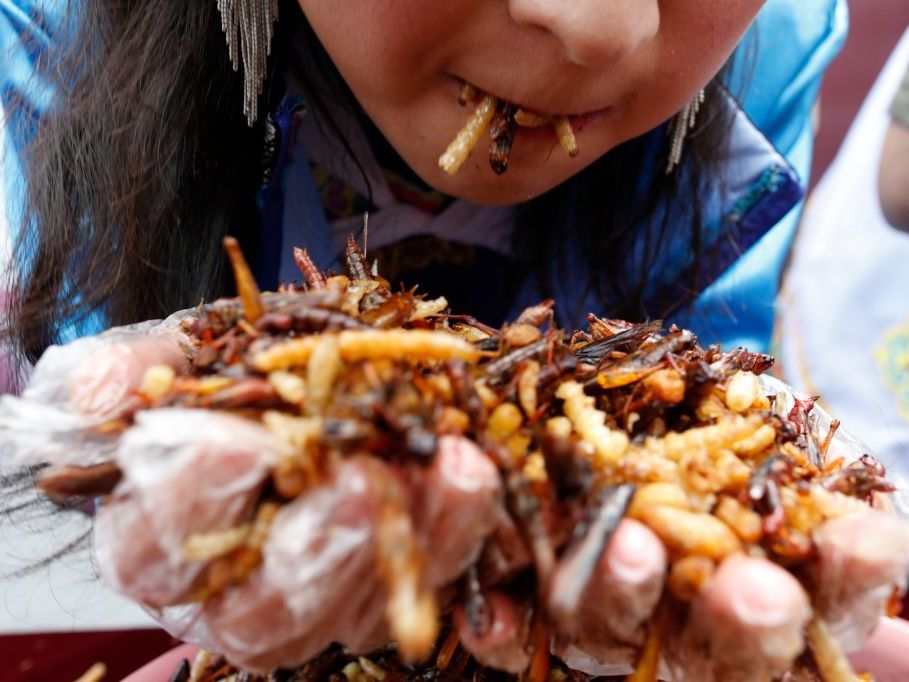 Tourists eat fried insects, including locusts, bamboo worms, dragonfly larvae, silkworm chrysalises and more during a competition in Lijiang, China. For Westerners, eating insects means getting over the ick factor. (VCG/Getty Images)