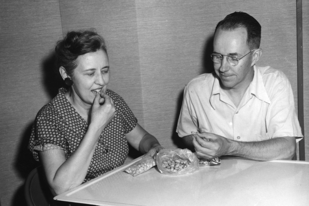 """Man and woman eating """"atomic"""" peanuts, 1959 (Courtesy of NCSU Special Collections Research Center)"""