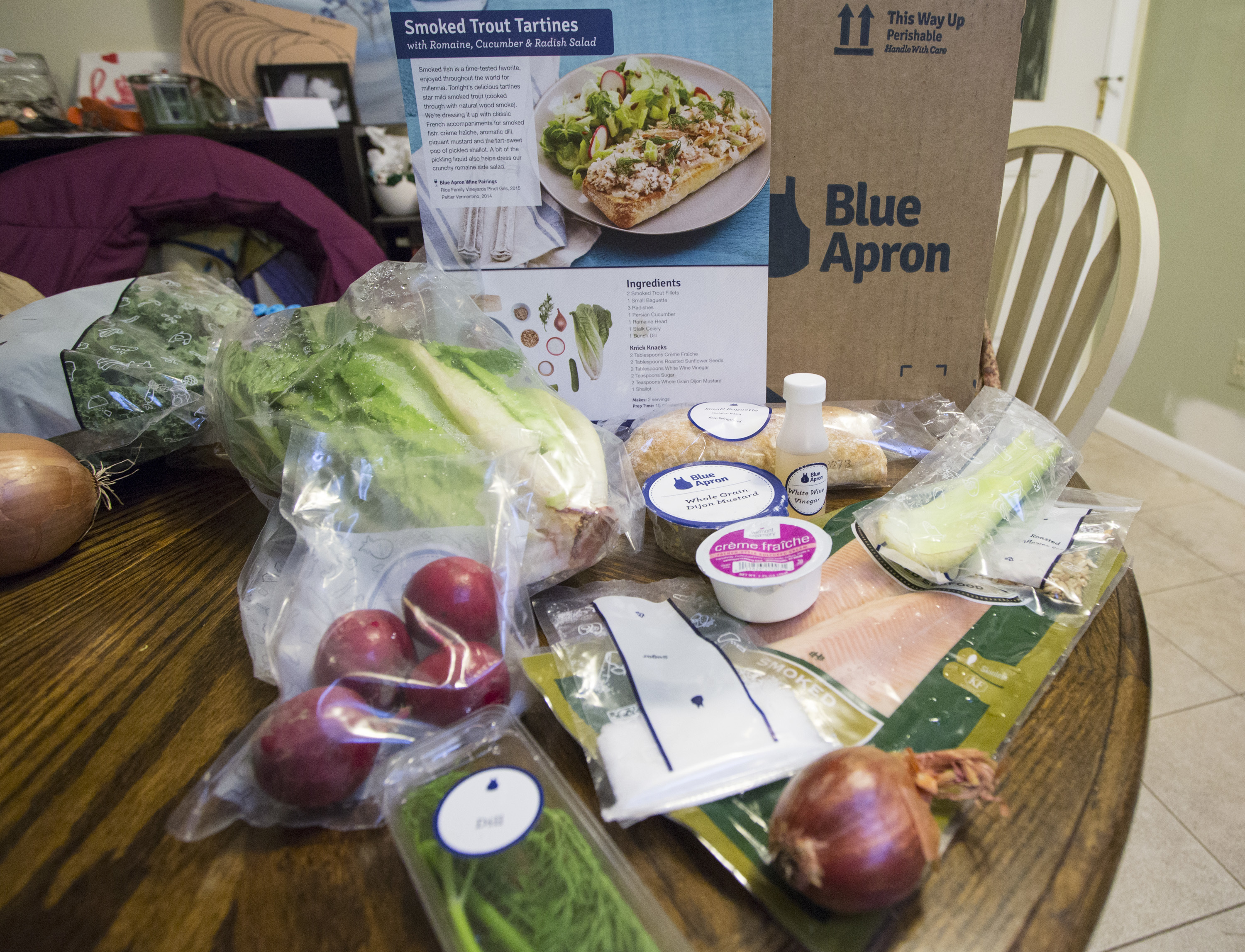 While it may seem that heaps of plastic from meal kit delivery services like Blue Apron make them less environmentally friendly than traditional grocery shopping, a new study says the kits actually produce less food waste. (Derek Davis/Portland Press Herald via Getty Images)