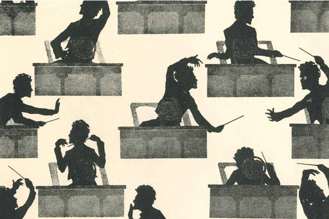Silhouettes of a conductor