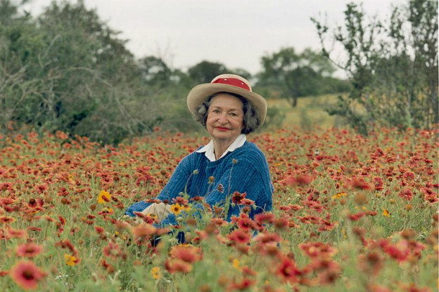 Portrait of Lady Bird Johnson in the Texas Hill Country.