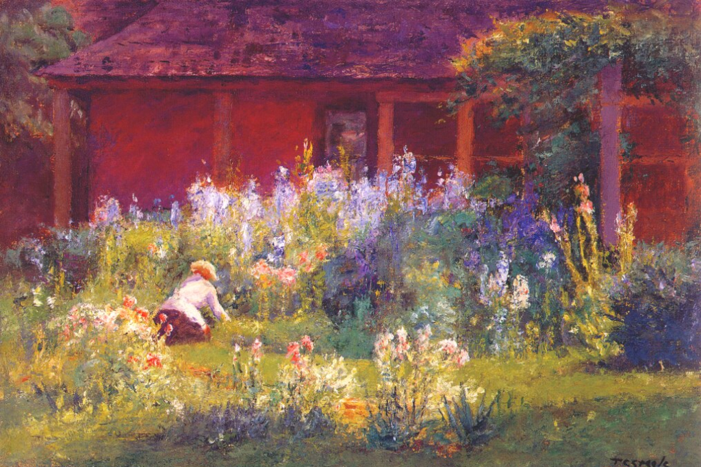 Selma in the Garden, painting by T. C. Steele (Wikiart).
