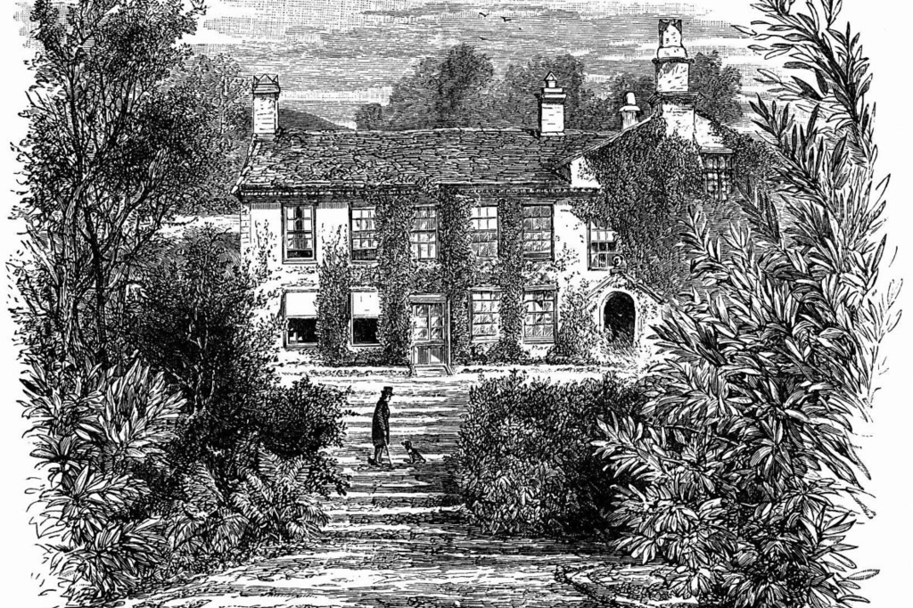 "William Wordsworth's House, Rydal Mount. (Creighton, Mandell: ""The Story of Some English Shires"" (1897) / Wikimedia Commons)"