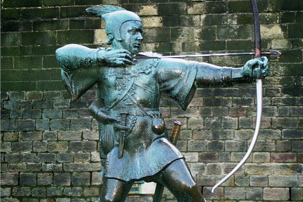 A statue of Robin Hood in his supposed home of Nottingham