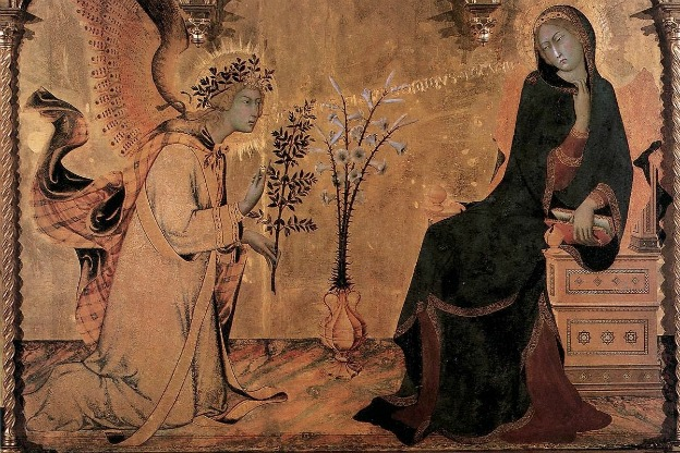 Depiction of angel Gabriel's appearance to Mary. Painting by Simone Martini