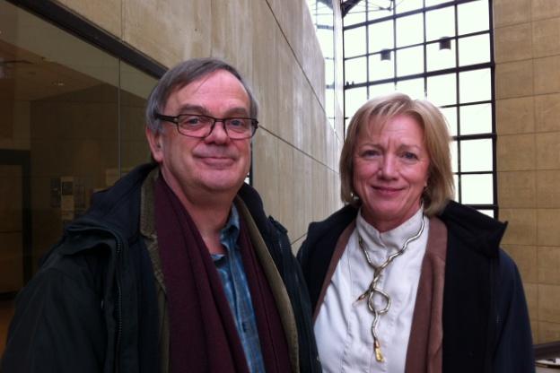Bart Kuijken and Wendy Gillespie in the atrium of the IU Art Museum.