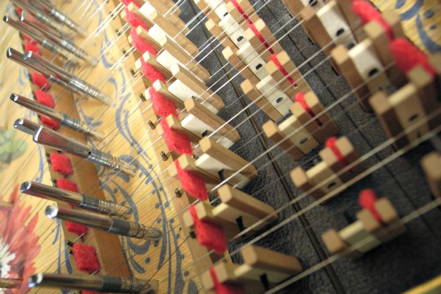 A view of the inside of a harpsichord