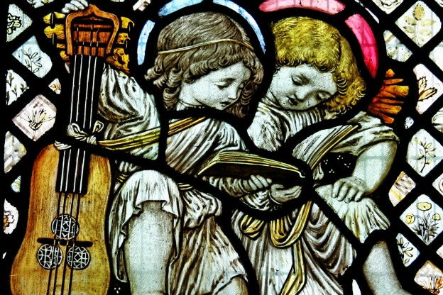 Detail from 'Adoration of the Shepherds and Angels' by Anning Bell, 1911