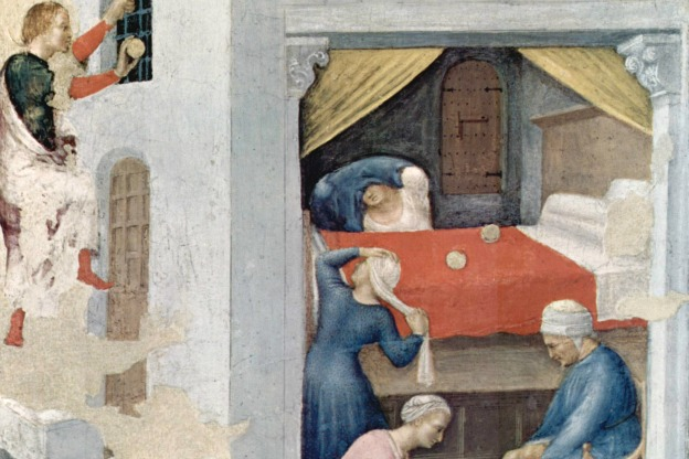 From a Saint Nicholas miracle legend: The dowry for the three virgins, depicted by Gentile da Fabriano, (c. 1425, Pinacoteca Vaticana, Rome).