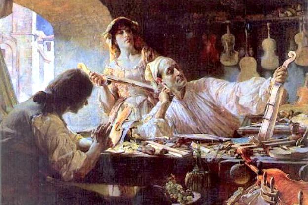 A romanticized image of Antonio Stradivari by Edgar Bundy, 1893. No known portrait of Stradivari exists.
