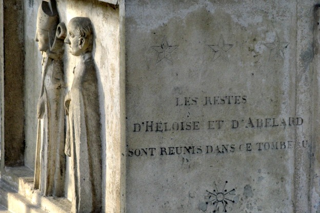 Purported grave of Peter Abelard and Héloïse d'Argenteuil at Pere Lachaise Cemetery.