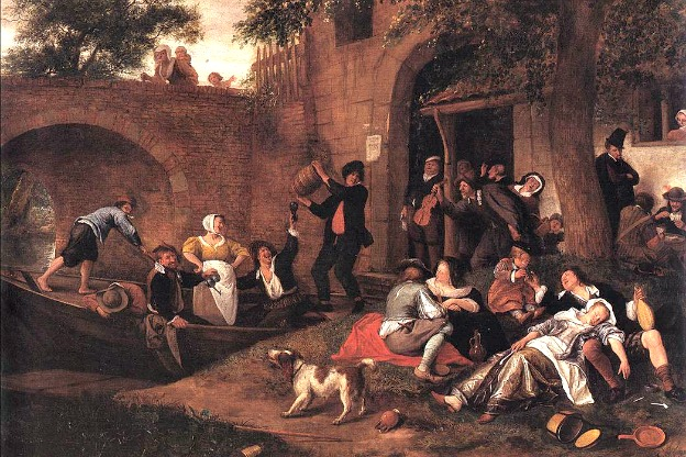 Leaving the Tavern, a 17th-century painting by Jan Steen. We'll hear some tavern songs, along with bawdy songs and catches on this episode of Harmonia.