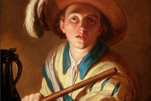 "Detail of ""The flute player"" by Abraham Bloemaert (1564–1651)."