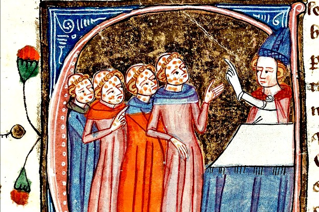 Disfigured plague victims being blessed by a priest, a detail depicted in the 14th-century manuscript Omne Bonum by James le Palmer.