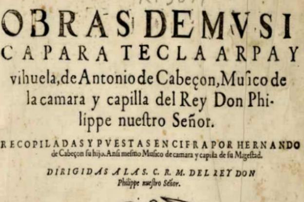 Title page of Obras de música para tecla, arpa y vihuela (Madrid, 1578).