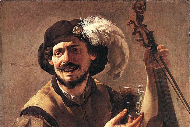 Detail from the painting A Laughing Bravo with a Bass Viol and a Glass, (1625), by Hendrick ter Brugghen.