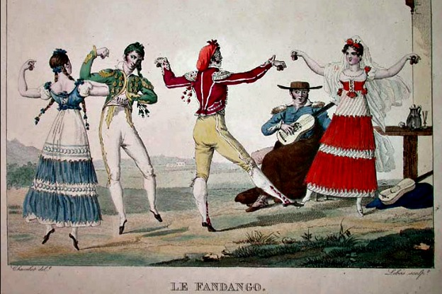 Le Fandango, an illustration of the Spanish folk dance by French painter Pierre Chasselat, circa early 1810s.