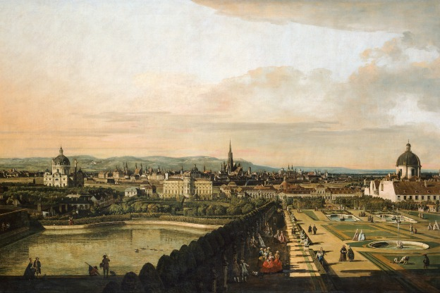 """""""Vienna Viewed from the Belvedere Palace,"""" (1759-1760), a work by the Italian painter Bernardo Bellotto."""