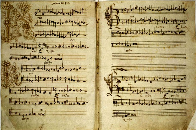 This is a detail from an early-16th-century manuscript of Missa de Beata Virgine by Josquin des Prez.   While this is manuscript is authentic, during the renaissance many other pieces marked with his name weren't. Opportunists discovered that they could increase sales by branding works with Josquin's name. Imitation is the sincerest form of flattery, and we've been left with many wonderful works in Josquin's style that may never have gained an audience without Josquin's moniker. Nevertheless, sorting out the resulting misattributions can by quite a trick!