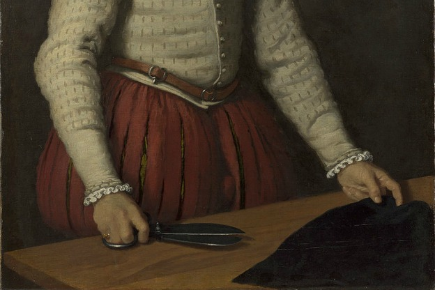 A detail from the painting The Tailor ('Il Tagliapanni') by Giovanni Battista Moroni,(circa 1525–1578).