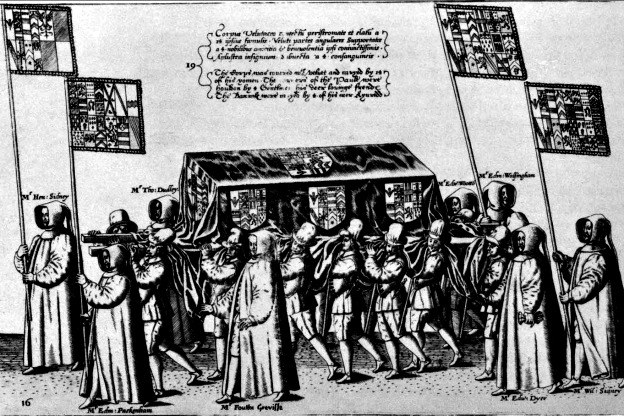 A depiction of a 16th-century funeral procession: The scene shows the casket of  English poet, courtier, and soldier Sir Philip Sidney, (Plate 16 from Procession at the Obsequies of Sir Philip Sidney by Thomas Lant, engraved by Theodor de Bry), 1587.