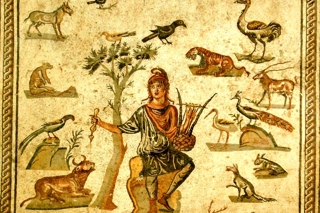 "Orpheus charming ""beasts"" with music from his lyre, depicted on an ancient Roman floor mosaic from Palermo."