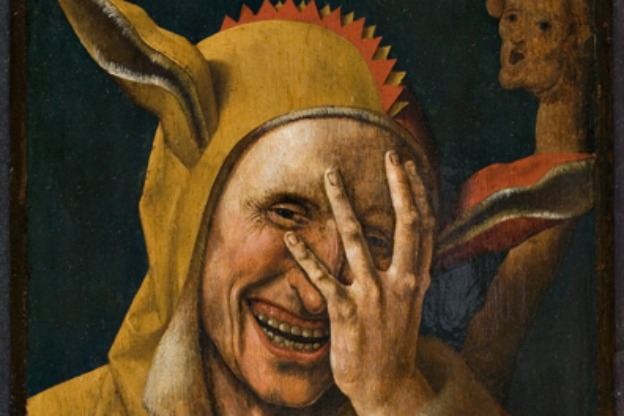 Laughing Fool, detail from a painting, possibly by Jacob Cornelisz. van Oostsanen, Netherlands, circa 1500.