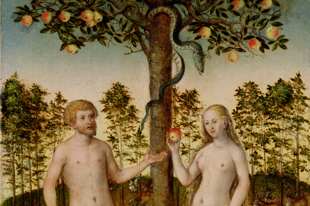 Detail from the painting titled The Fall of Man, 1549, by  Lucas Cranach the Younger (1515–1586).