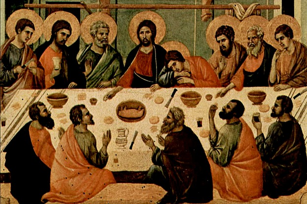 Detail from a 14th-century alter painting dipicting the Last Supper, by Italian painter Duccio di Buoninsegna.  Maunday Thursday services commemorate the Last Supper.