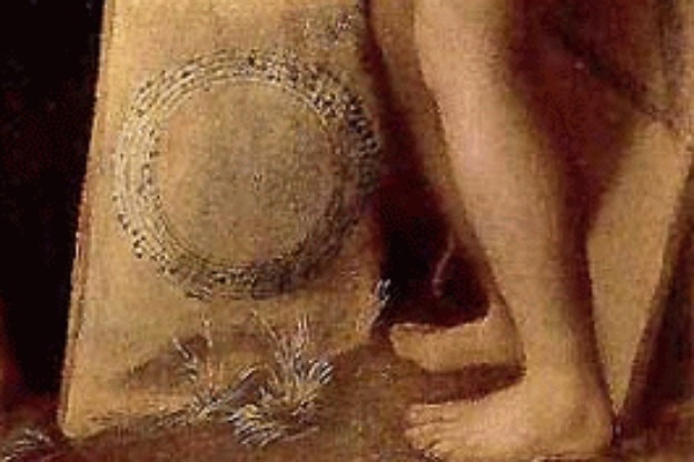 A detail from Dosso Dossi's painting Allegory of Music, showing canons written in circular and triangular form.
