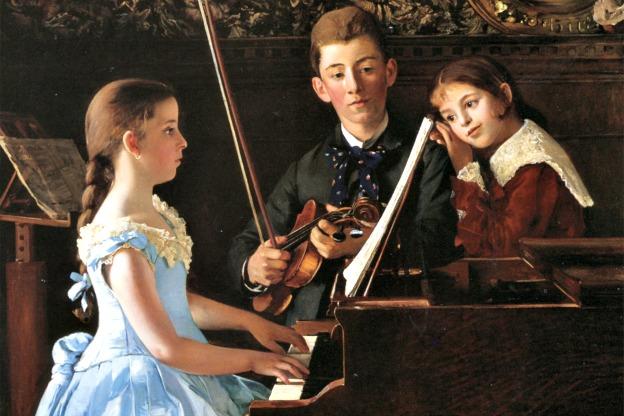 The Recital by Hungarian painter Döme Skuteczky, 1885.